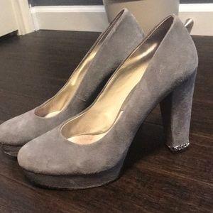 Michael Kors Grey Suede, Silver trim chunky Heels